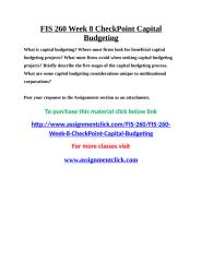 UOP FIS 260 Week 8 CheckPoint Capital Budgeting.doc