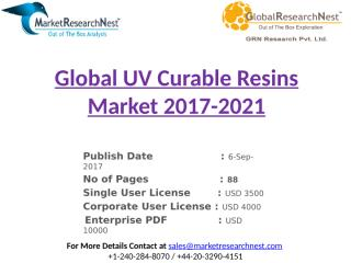 Global UV Curable Resins Market 2017-2021.pptx